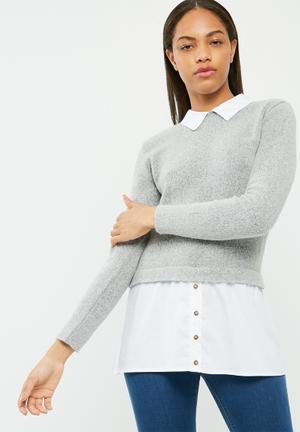Dailyfriday Jersey Shirt Light Grey Melange & White