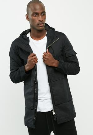 Bellfield Mens Lightweight Parka Jackets Black