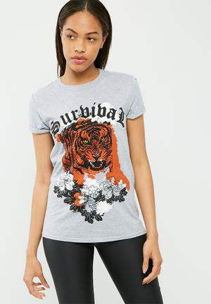 Missguided Tiger Graphic T-shirt Grey