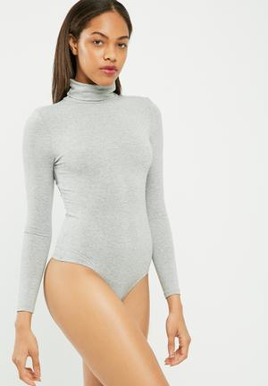 Missguided Long Sleeve Turtle Neck Bodysuit T-Shirts, Vests & Camis Grey