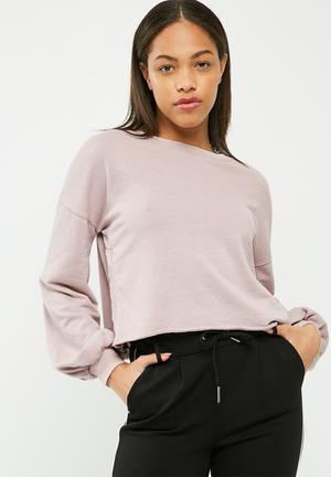 Missguided Embroidered Side Split Washed Sweatshirt Hoodies & Jackets Mauve