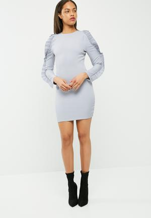 Missguided Crepe Pleated Ruffle Sleeve Bodycon Dress Occasion Dusty Blue