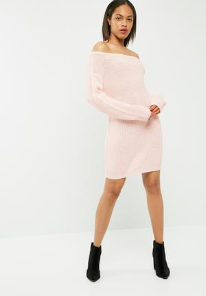 Missguided Off Shoulder Knitted Jumper Dress Casual Pink