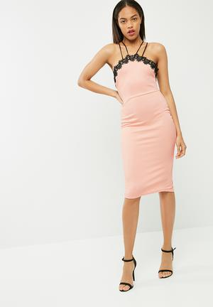 Missguided Cross Strap Lace Trim Midi Dress Occasion Pink