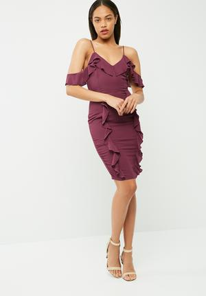 Missguided Crepe Frill Cold Shoulder Midi Dress Occasion Burgundy