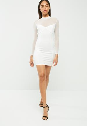 Missguided High Neck Long Sleeve Mesh Bodycon Dress Occasion White