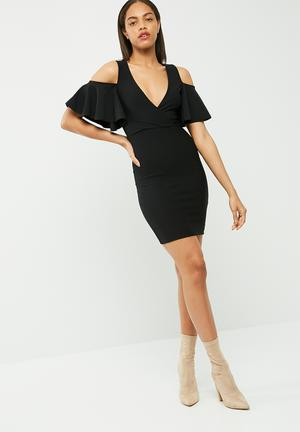 Missguided Frill Cold Shoulder Plunge Bodycon Dress Occasion Black