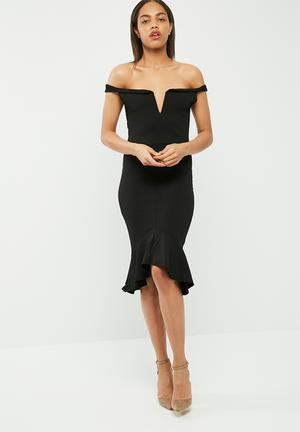 Missguided V Bar Bardot Frill Hem Midi Dress Occasion Black