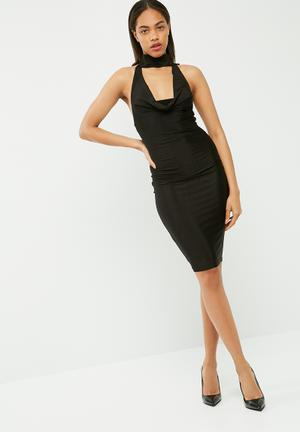 Missguided Slinky Cowl Neck Midi Dress Occasion Black