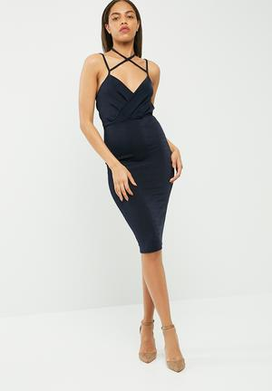 Missguided Wrap Strappy Halterneck Midi Dress Occasion Navy