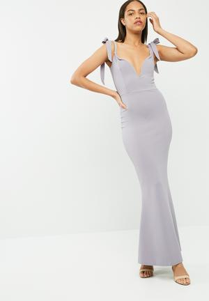 Missguided Sweetheart Neck Bardot Tie Maxi Dress Occasion Light Mauve