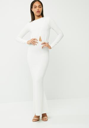 Missguided Long Sleeve Backless Maxi Dress Occasion White