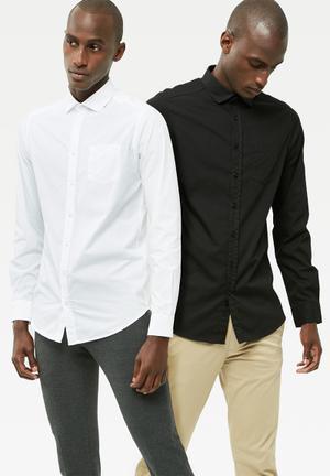 Basicthread 2 Pack Regular Fit Poplin Shirt White & Black