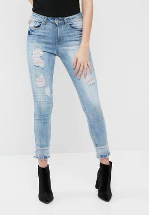 Missguided Anarchy Mid Rise Reversed Hem Skinny Jeans Blue