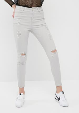 Missguided Sinner High Waisted Ripped Skinny Jeans Grey