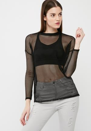 Missguided Fishnet Long Sleeve Top T-Shirts, Vests & Camis Black