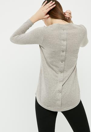 Dailyfriday Cut And Sew Top With Button Back T-Shirts, Vests & Camis Grey Melange