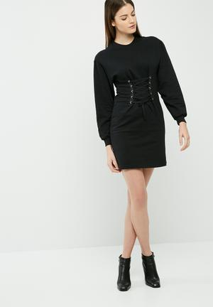 Dailyfriday Lace Up Sweat Dress Casual Black