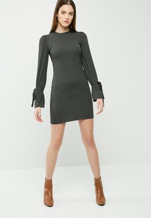 Dailyfriday Cut & Sew Sleeve Tie Dress Casual Grey