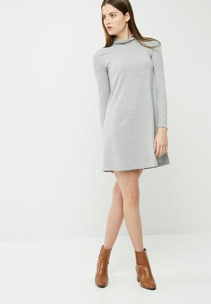 Dailyfriday Cut & Sew Turtleneck Swing Dress Casual Light Grey Melange
