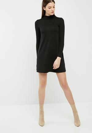 Dailyfriday Cut & Sew Turtleneck Swing Dress Casual Black