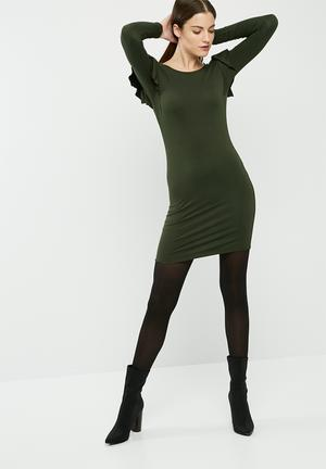 Dailyfriday Long Sleeve Bodycon Dress With Frill Shoulder Casual Green
