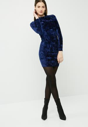 Dailyfriday Crushed Velvet Long Sleeve Bodycon Casual Navy