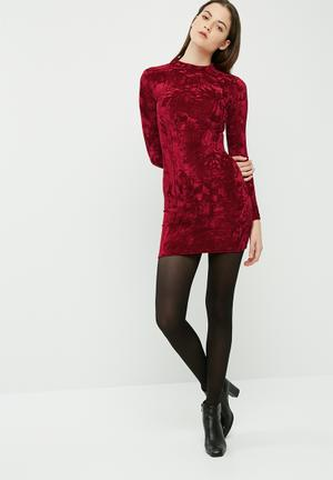 Dailyfriday Crushed Velvet Long Sleeve Bodycon Casual Scarlet Red