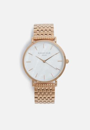 ROSEFIELD Upper East Side Watches Rose Gold & White
