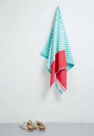 Sixth Floor Bubblegum Stripes Beach Towel Pool & Fun 100% Cotton
