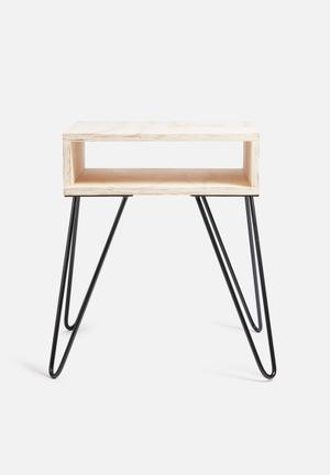 Sixth Floor Hairpin Bedside Table Mango Wood & Copper Hairpin Legs