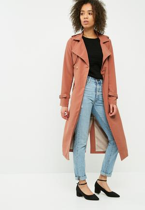 Vero Moda Pippa Long Trench Coat Burnt Orange