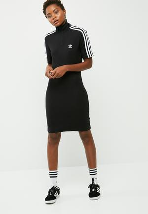 Adidas Originals 3 Stripes Hi Neck Dress Casual Black