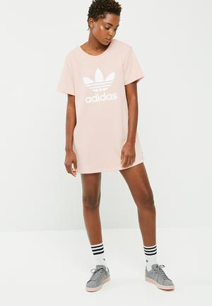 Adidas Originals Trefoil Tee Dress Casual Light Pink