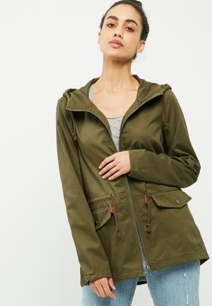 Jacqueline De Yong Mandy Short Parka Jackets Khaki