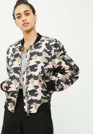 Vero Moda Dicte Printed Bomber Jacket Khaki, Black & Dusty Pink