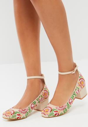 Footwork Farrah Heels Beige, Pink, Green & Yellow