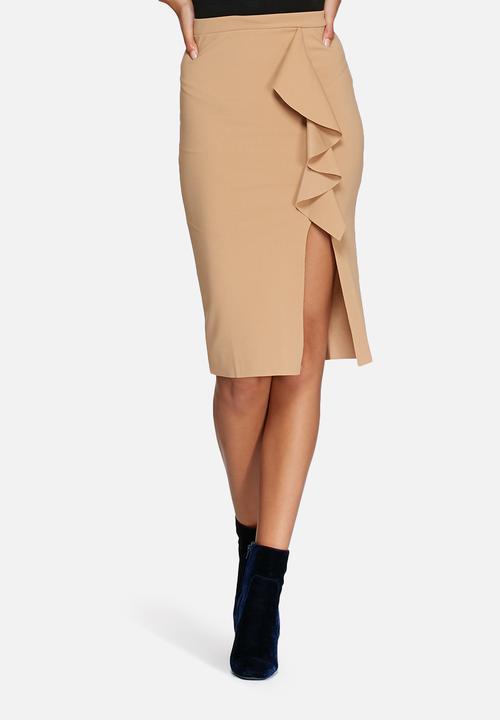 ruffle detail scuba midi skirt camel missguided skirts