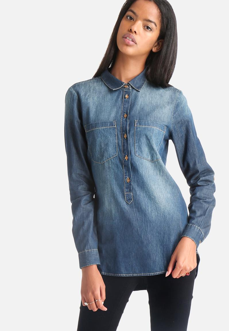 Women s Denim Shirts. Women's denim shirts are a wardrobe must-have. From light to deep blue, discover denim shirts in traditional styles like button-downs featuring classic or modern detailing.