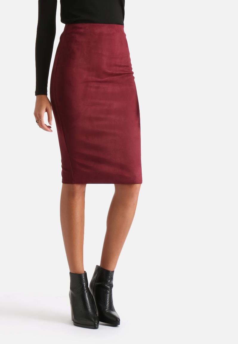 faux suede midi skirt plum ax skirts superbalist