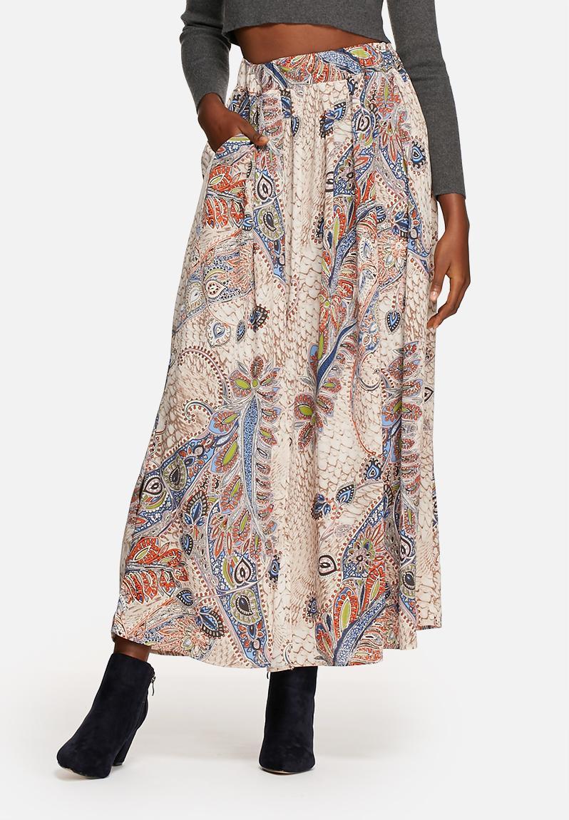 mid waist maxi pleated skirt marshmallow feather print