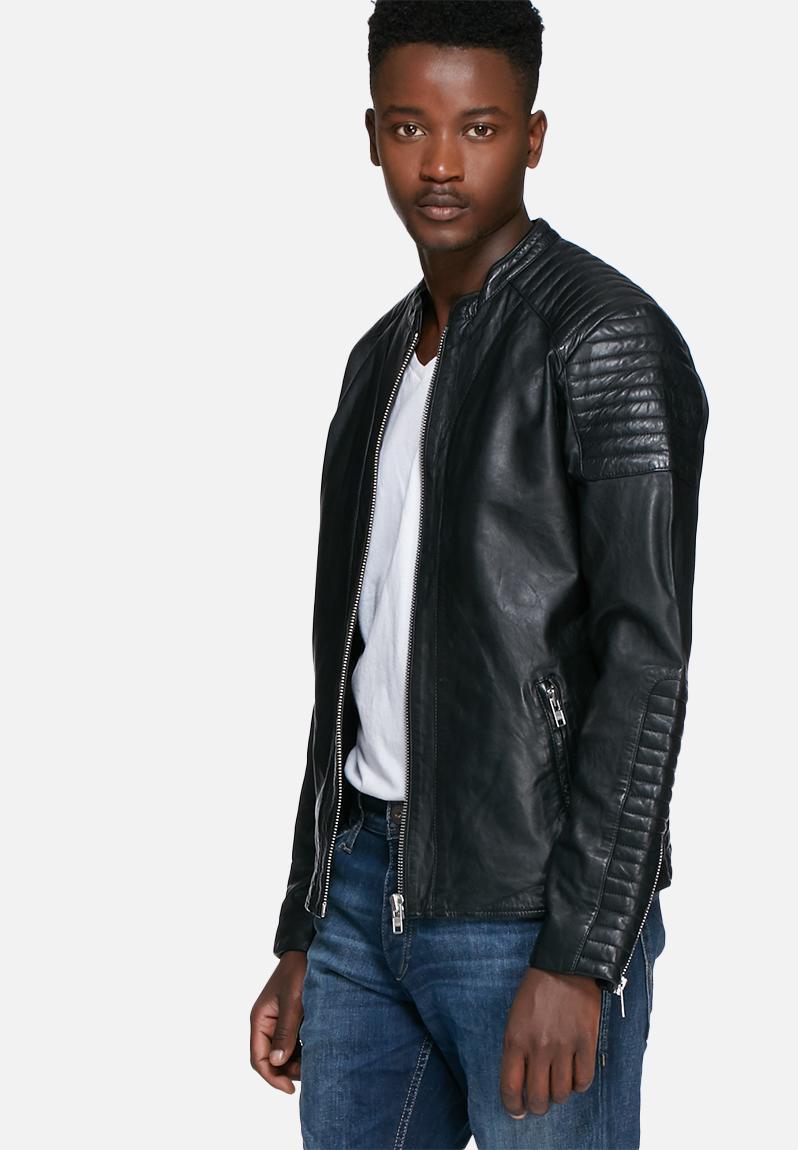 Leather jacket jack and jones - Rowen Leather Jacket Black Jack Jones Premium Jackets Superbalist Com