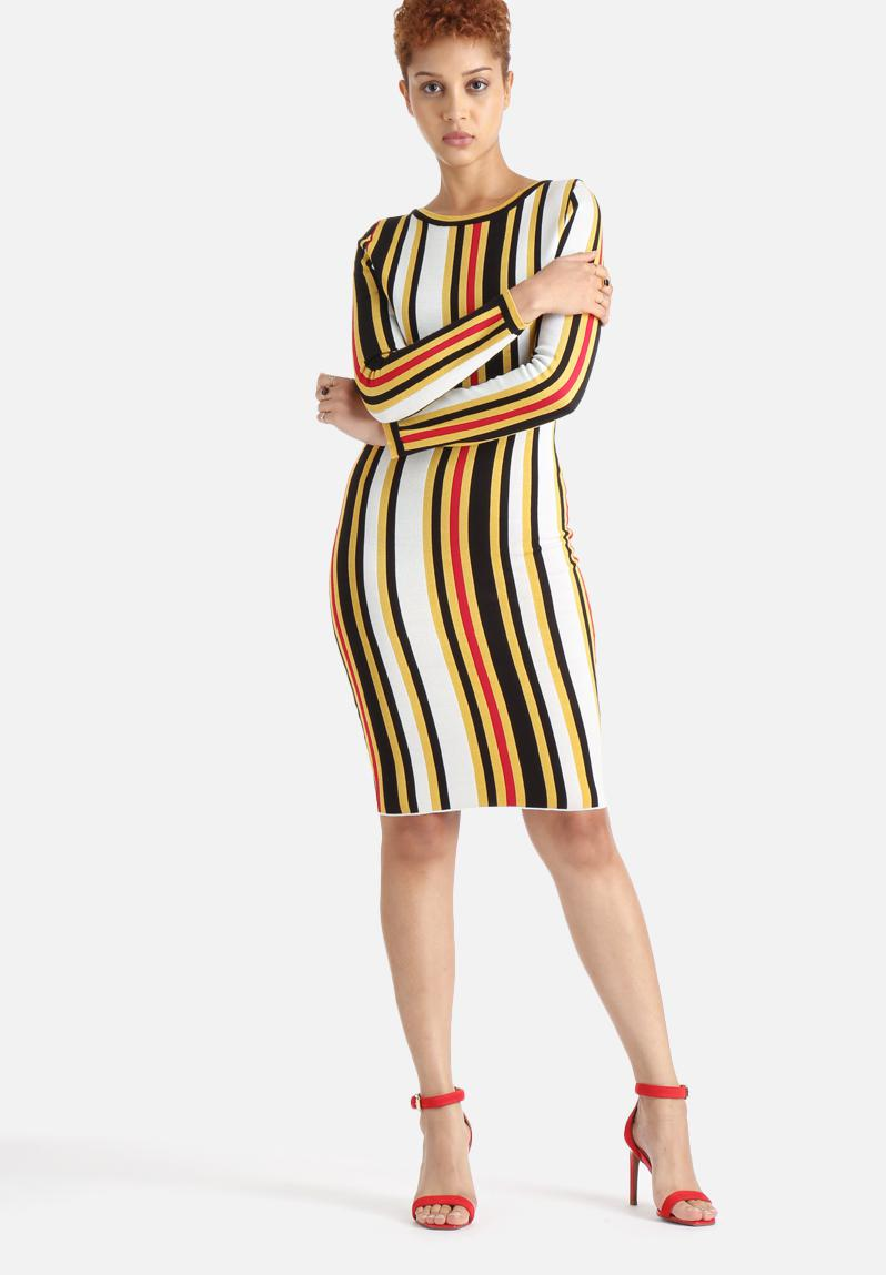 Knit Midi Dress Multi Stripe Lavish Alice Formal ea55b027d