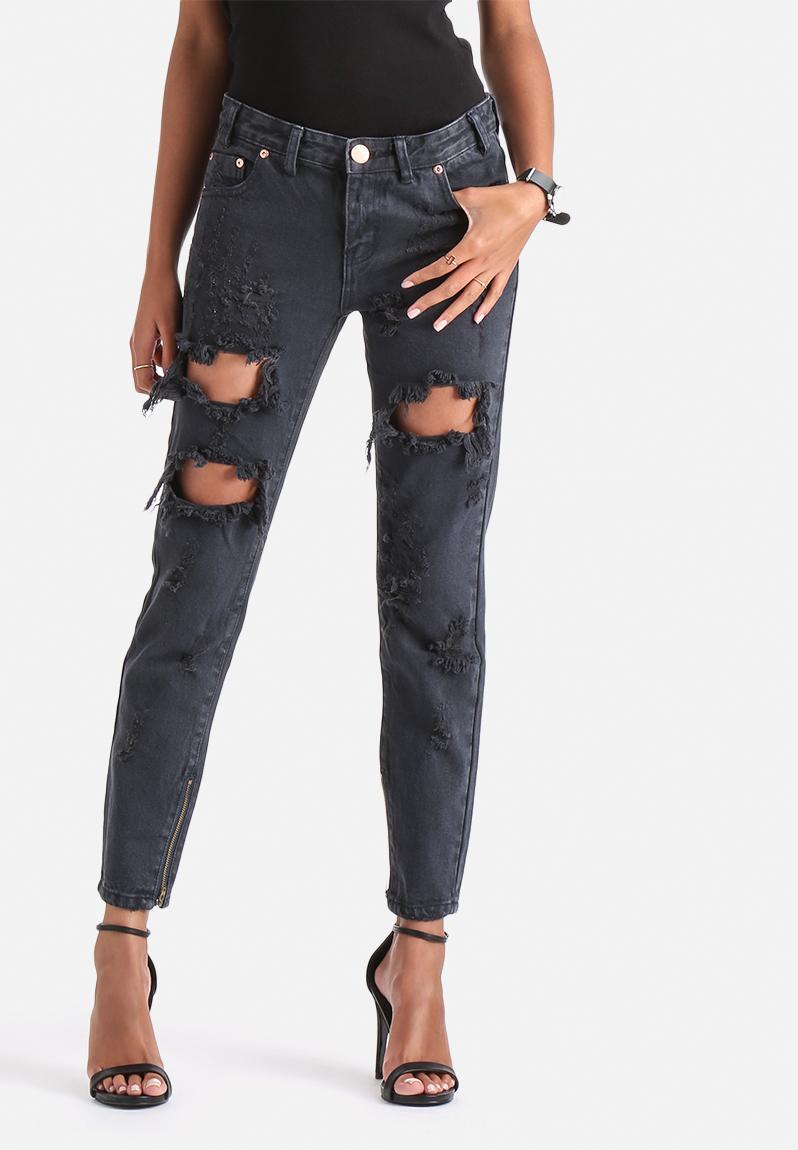destroyed boyfriend jeans navy wash glamorous jeans. Black Bedroom Furniture Sets. Home Design Ideas