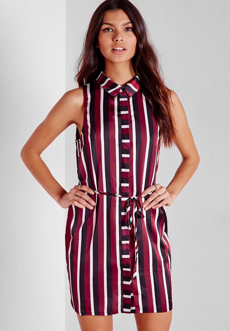 Sleeveless tie waist shirt dress burgundy stripe for Sleeveless dress shirt womens