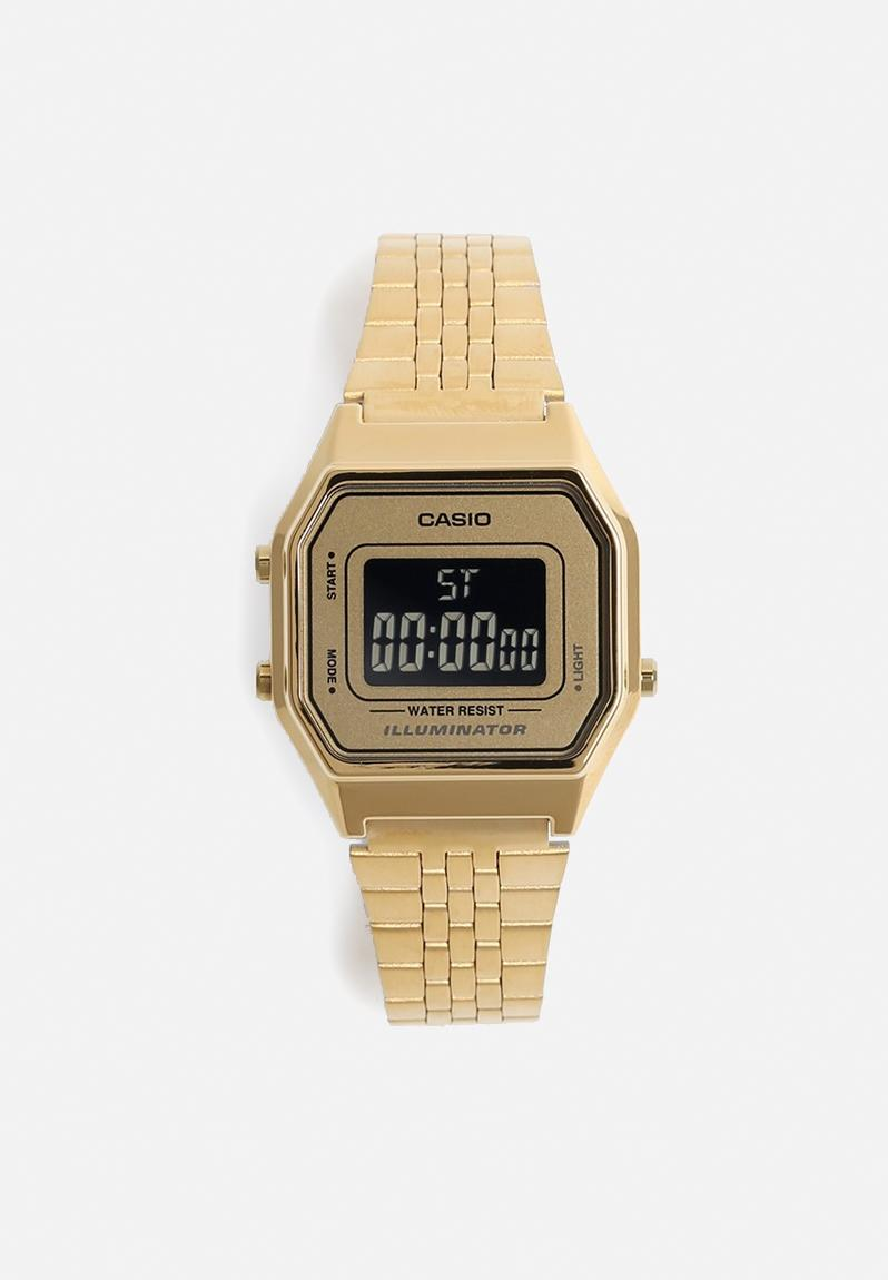 digital wrist watch small goldblack casio watches