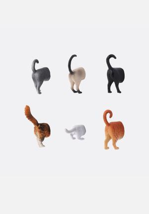 Kikkerland Cat Butt Magnets – Set Of 6 Gifting & Stationery Phthalate-free Vinyl