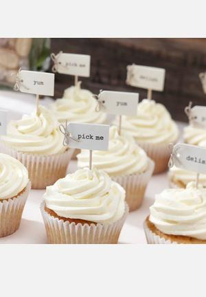 Ginger Ray Cupcake Sticks – White Partyware Textured Card And Wooden Stick