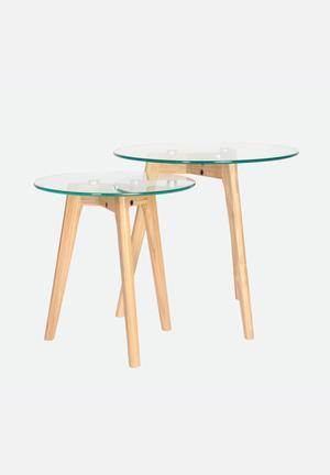 Sixth Floor Radius Glass Nest Table Natural