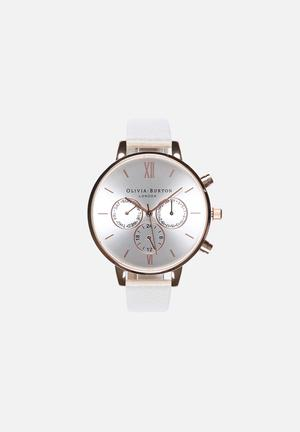 Olivia Burton Big Dial Chrono Detail Watches Rose Gold & White